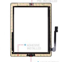 iPad 3/4 Digitizer Touch Screen with Adhesive Tape – Black