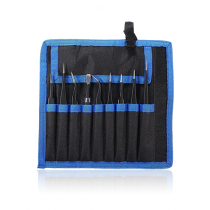 Tweezer Set with carrying Pouch (9 piece set)